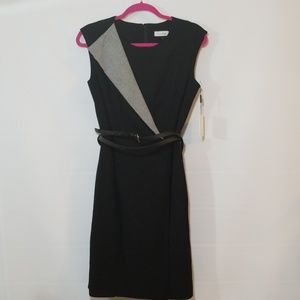 Calvin klein black and white sheath dress